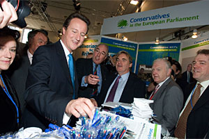 David Cameron at the MEPs Stall
