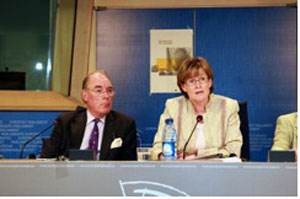 With Chairman, Mairead McGuinness, at the Equitable Life Press  Conference