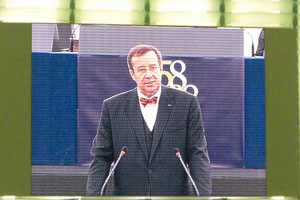The President of Estonia (brought up in the USA) speaks in Strasbourg