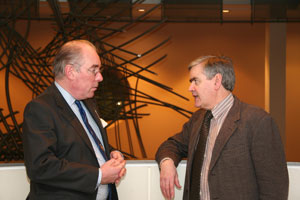 Sir Robert with Paul Braithwaite (Secretary General of the Equitable Members Action Group) at the Petitions Committee.